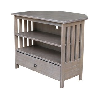 Mission Corner TV Stand - Washed Gray Taupe