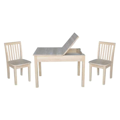 Kids Table with Lift Up Top and 2 Mission Juvenile Chairs - 3 Piece Set