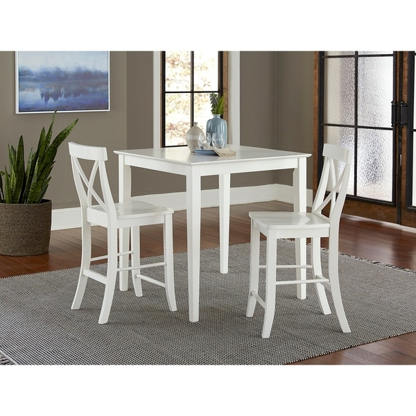 """Groveland 3pc Square Dining Table With 2 Chairs: Shop 36"""" Square Counter Height Dining Table With 2 X-Back"""