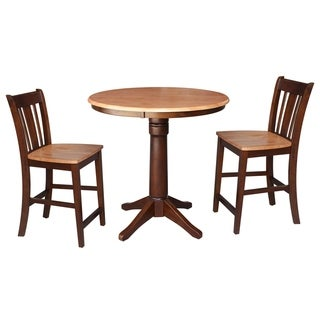 "Round 36"" Counter Height Table with 2 San Remo Stools - Cinnamon/Espresso- 3 Piece Set"