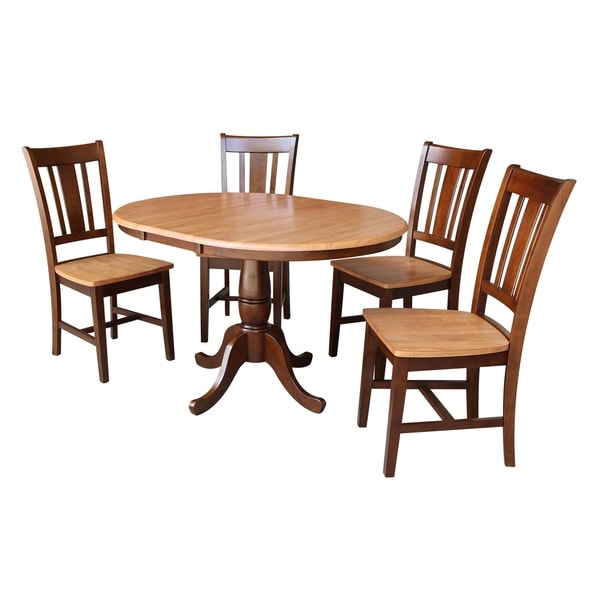 "Round Dining Set With Leaf: Shop 36"" Round Dining Table With 12"" Leaf And 4 San Remo"
