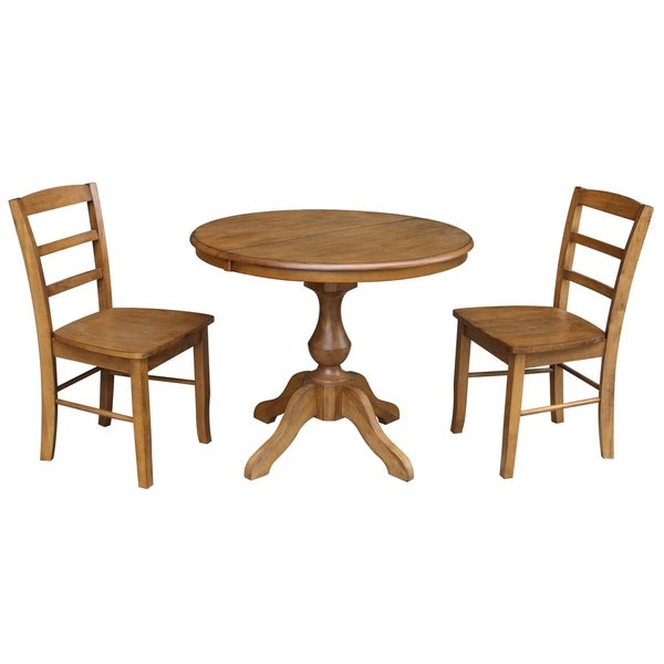 Shop 36 Round Dining Table With 12 Leaf And 2 Madrid Chairs