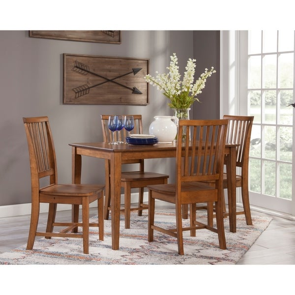 30x48 Dining Table with 4 Mission Chairs - Pecan- 5 Piece Set. Opens flyout.