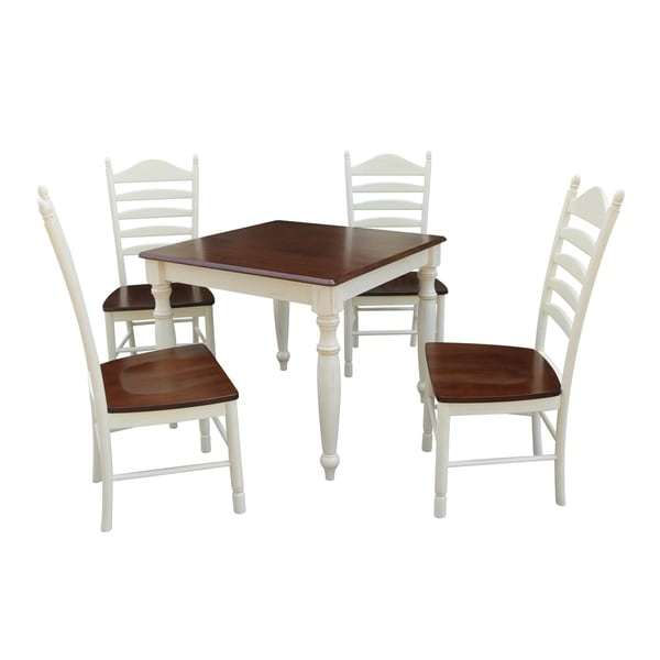 Good 36x36 Dining Table With 4 Ladderback Chairs   Alabaster/Espresso  5 Piece  Set