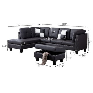 Fuax Leather Nail Head Sectional Sofa with Storage Ottoman