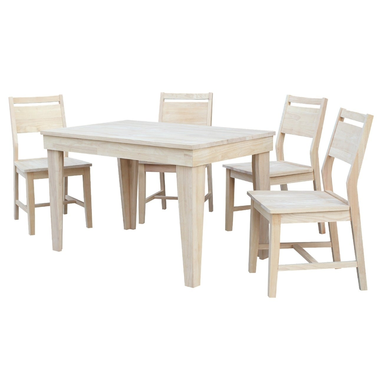 Aspen Solid Wood Dining Table With 4 Aspen Panel Chairs Unfinished 5 Piece Set