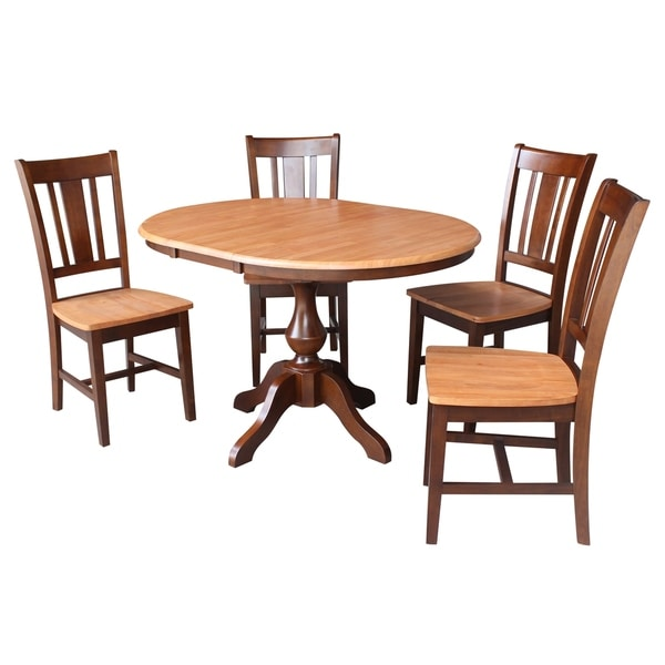 "Large Round Dining Table Seats 12: Shop 36"" Round Top Dining Table With 12' Leaf And 4 San"