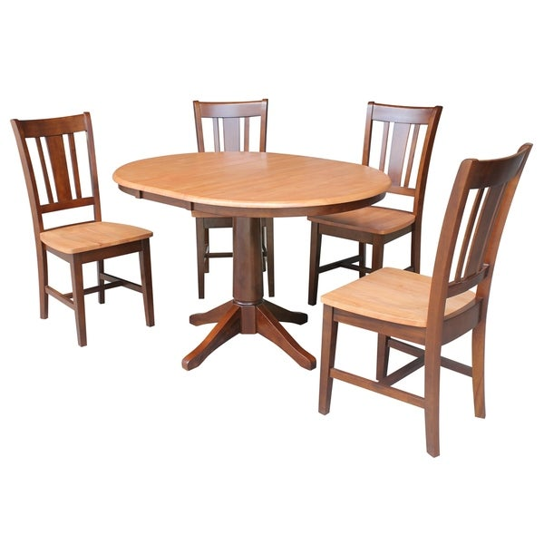 "Round Dining Room Tables For 12: Shop 36"" Round Dining Table With 12"" Leaf And 4 San Remo"