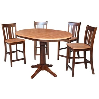"36"" Round Counter Height Table with 4 San Remo Stools - Cinnamon/Espresso- 5 Piece Set"