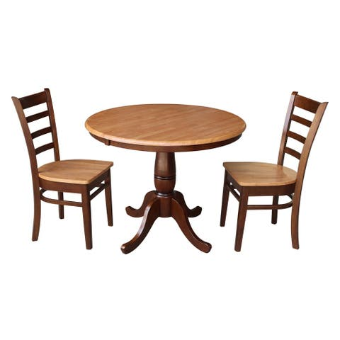 "36"" Round Dining Table with 12"" Leaf and 2 Madrid Chairs - Cinnamon/Espresso - 3 Piece Set"