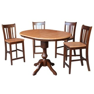 """36"""" Round Top Counter Height Table with 4 San Remo Stools - Cinnamon/Espresso- 5 Piece Set"""