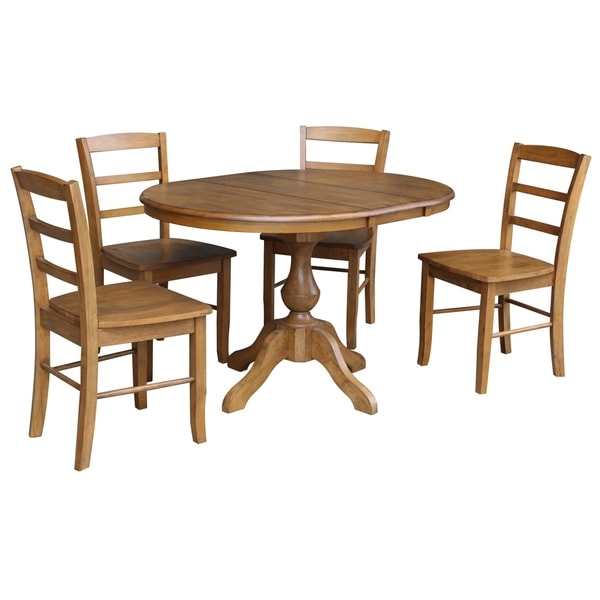 "Round Dining Set With Leaf: Shop 36"" Round Dining Table With 12"" Leaf And 4 Madrid"