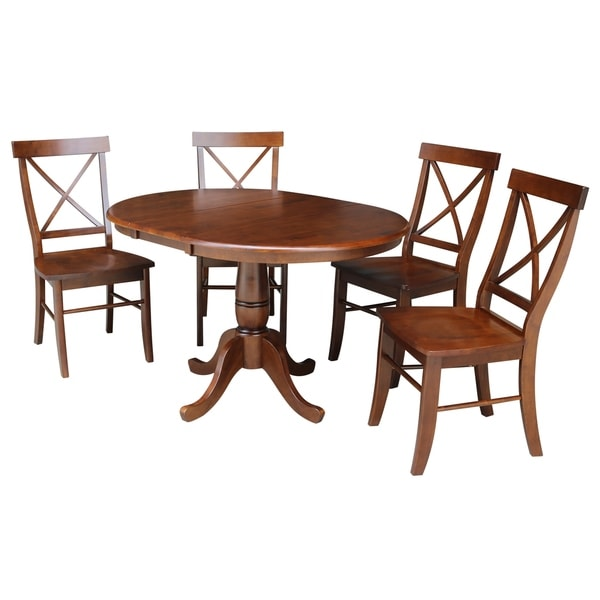 """36"""" Round Top Pedestal Ext Table with 12"""" Leaf And 4 X-Back Chairs - Espresso- 5 Piece Set"""