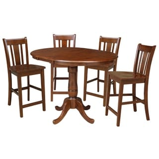 "36"" Round Counter Height Table with 12"" Leaf and 4 San Remo Stools - Espresso- 5 Piece Set"