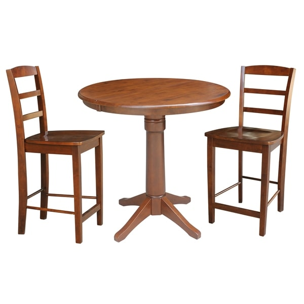 "Newcastle Counter Height Dining Table 2 Chairs 2 Stools: Shop 36"" Round Counter Height Dining Table With 2 Madrid"