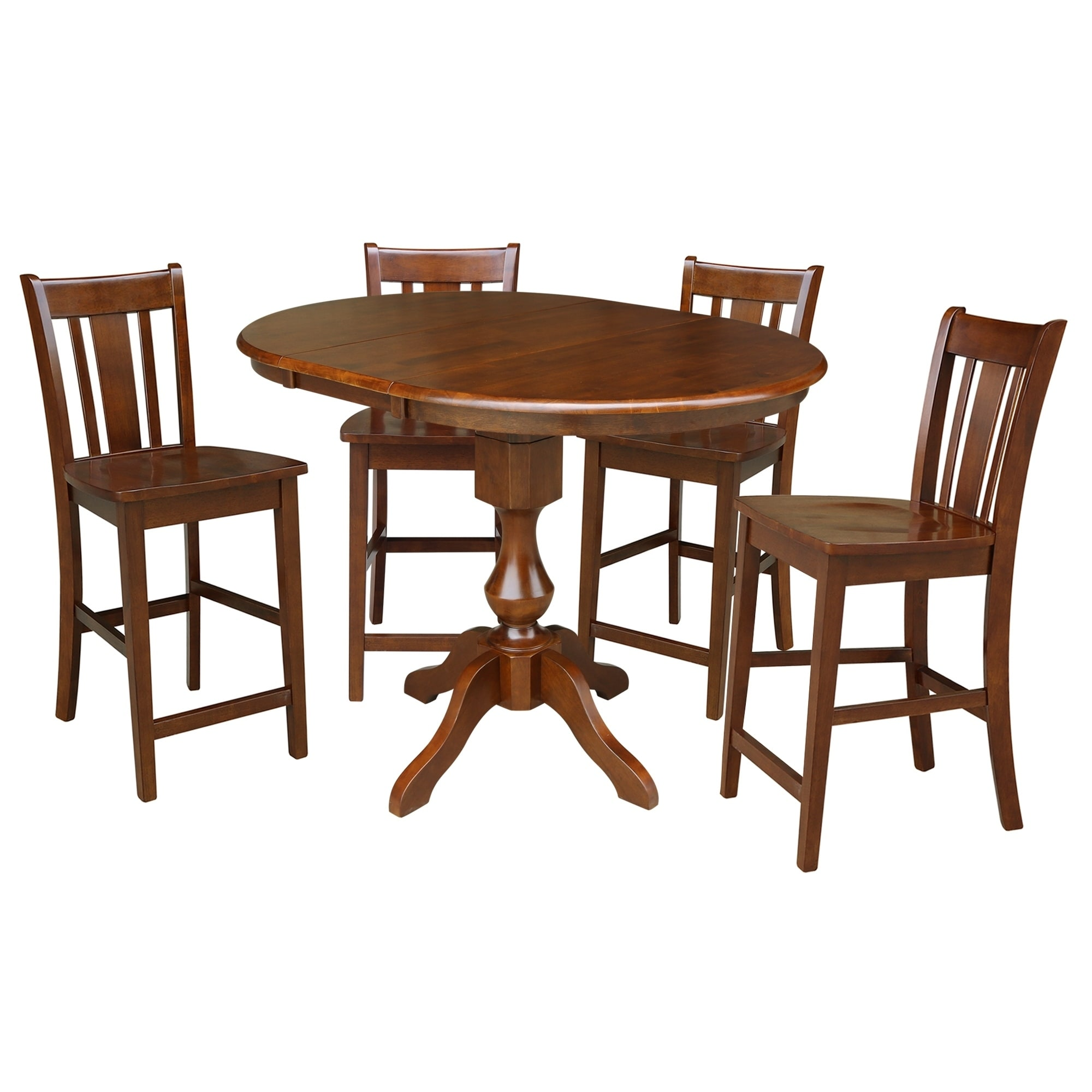 36 Round Counter Height Dining Table With 12 Leaf And 4 San Remo Stools Espresso 5 Piece Set