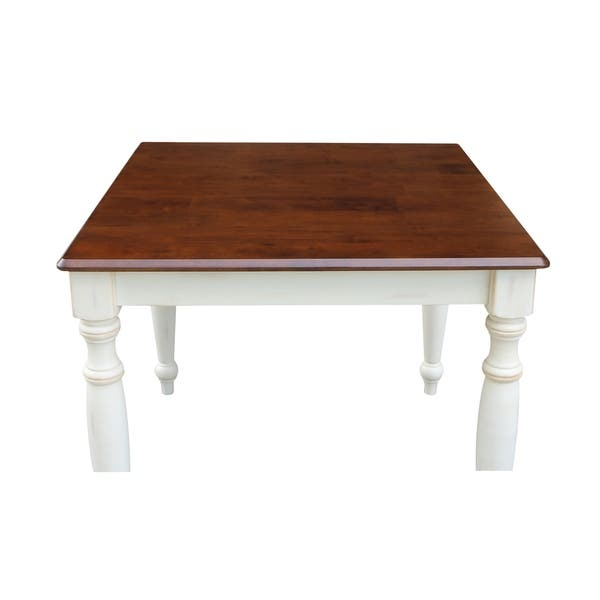 Solid Wood Top Dining Table With Turned Legs