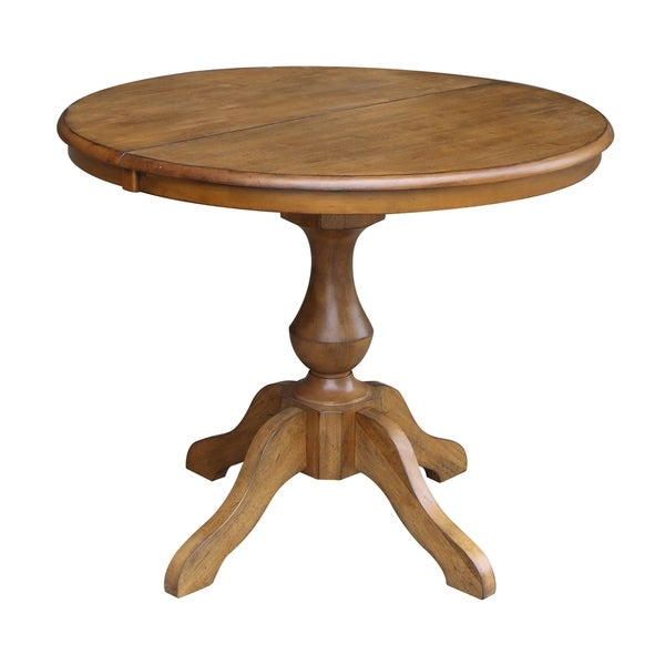 Shop 36 Round Top Pedestal Dining Table With 12 Leaf Pecan