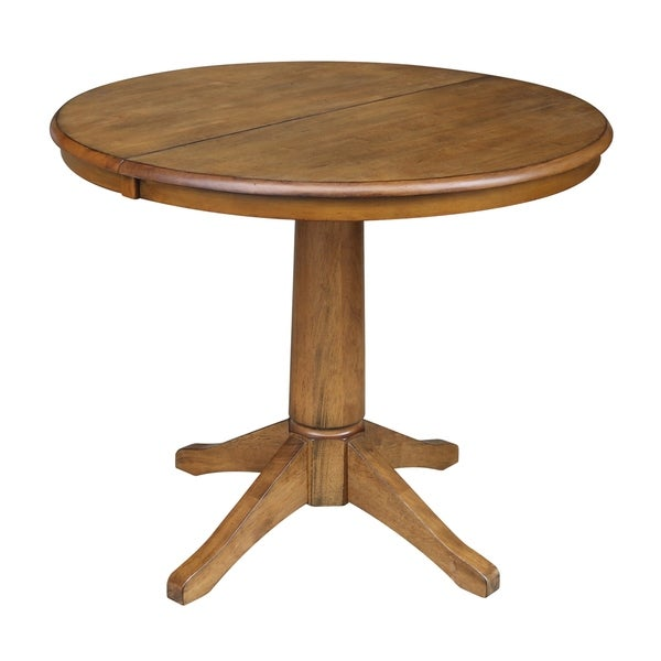 Shop Round Pedestal Dining Table With Leaf Pecan Free - 36 round outdoor dining table