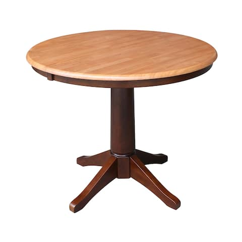 "36"" Round Pedestal Dining Table with 12"" Leaf - Cinnamon/Espresso - Espresso"