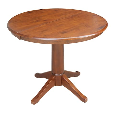"""36"""" Round Pedestal Dining Table with 12"""" Leaf - Espresso"""