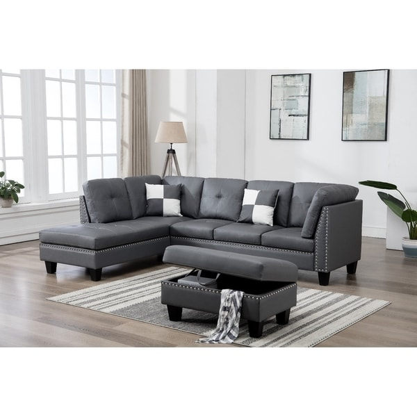 Charmant Faux Leather Nail Head Sectional Sofa With Storage Ottoman