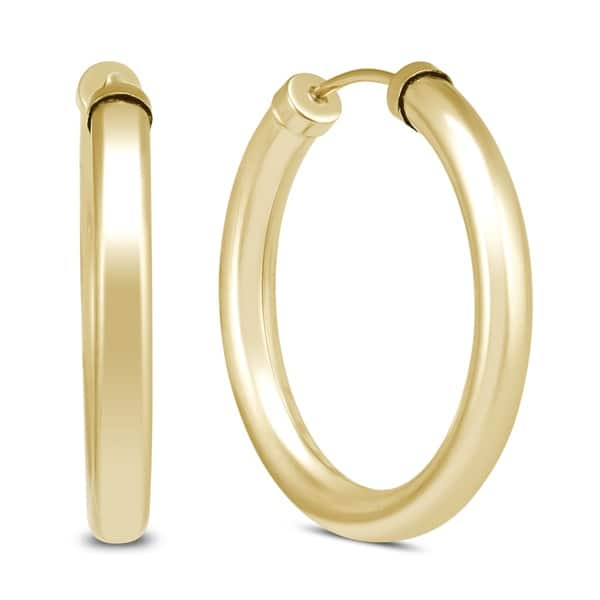 24mm 14k Yellow Gold Filled Endless Hoop Earrings 3mm