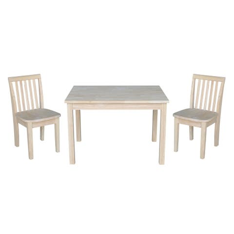 Kids Table with 2 Mission Juvenile Chairs - Unfinished- 3 Piece Set