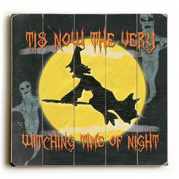 Witching Time of Night - Planked Wood Wall Decor by Debbie DeWitt