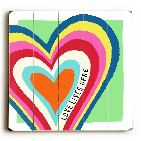 Love Lives Here - Planked Wood Wall Decor by Misty Diller