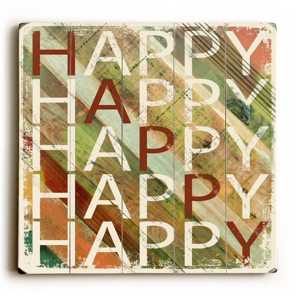 Happy - Planked Wood Wall Decor by Misty Diller