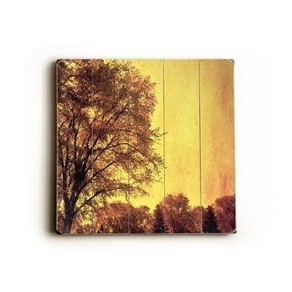 Golden Trees -   Planked Wood Wall Decor by Sylvia Coomes
