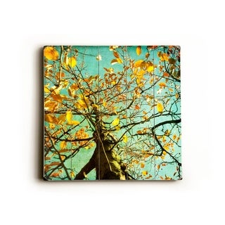 up a tree yellow -   Planked Wood Wall Decor by Sylvia Coomes