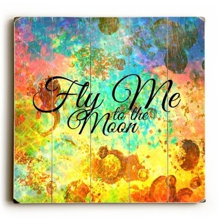 Fly Me to the Moon -  Planked Wood Wall Decor by Julia Di Sano