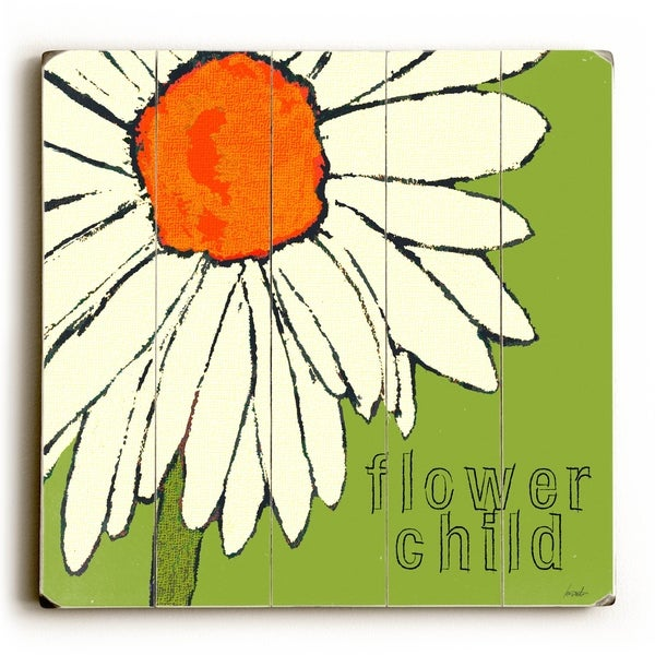 Flower Child - Planked Wood Wall Decor by Lisa Weedn