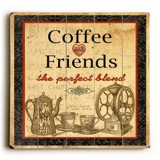 Coffee and Friends -   Planked Wood Wall Decor by Jean Plout