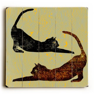 Stretch Cats -  Planked Wood Wall Decor by Artehouse