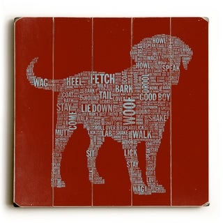 Red Dog Typography Art -   Planked Wood Wall Decor by Stella Bradley