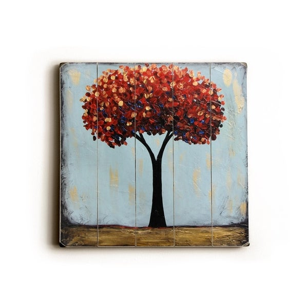 Ruby trees - Planked Wood Wall Decor by Danlye Jones