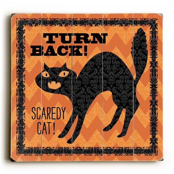 Spooky - Cats - Planked Wood Wall Decor by Donna Brady
