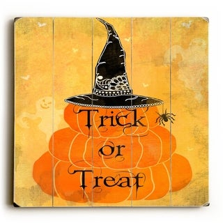 Trick or Treat -   Planked Wood Wall Decor by Mainline Art- Jill Meyer