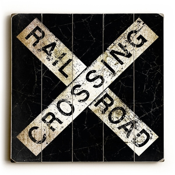 Rail Road Crossing - Planked Wood Wall Decor by Peter Horjus