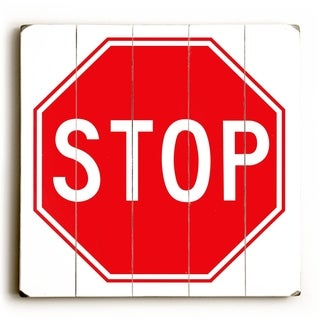 Stop -   Planked Wood Wall Decor by Cory Steffen