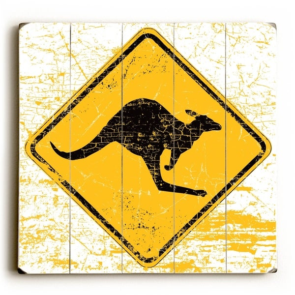 Kangaroo Crossing - Planked Wood Wall Decor by Peter Horjus