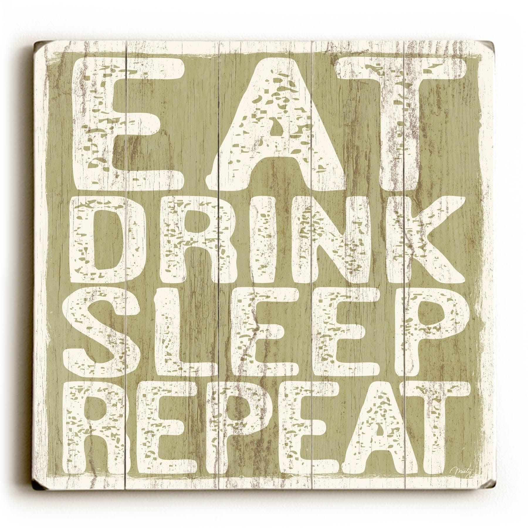 Shop Eat Drink Sleep Repeat Planked Wood Wall Decor By Misty Diller Overstock 22815866