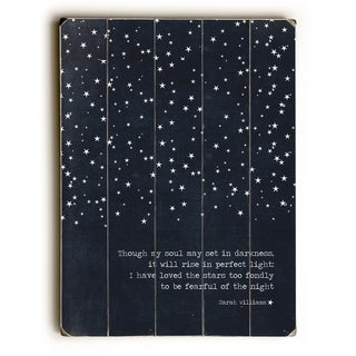 Fearful of the Night - Navy  Planked Wood Wall Decor by Cheryl Overton