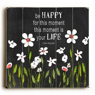 Be Happy -   Planked Wood Wall Decor by Lisa Weedn
