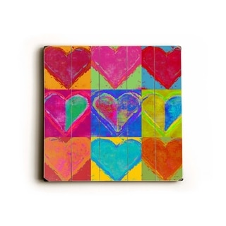 9 hearts -   Planked Wood Wall Decor by Lisa Weedn