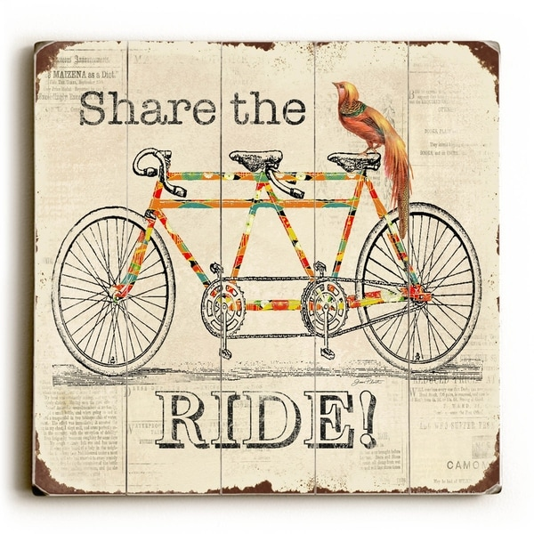 Share the Ride - Planked Wood Wall Decor by Jean Plout