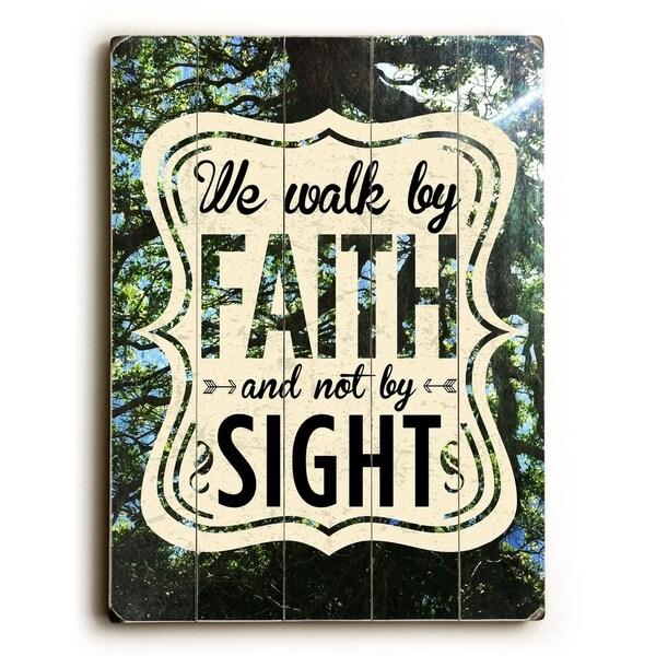 We Walk By Faith - 9x12 Solid Wood Wall Decor by Pocket Fuel - 9 x 12
